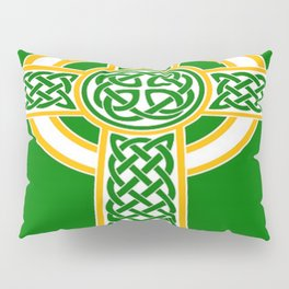 St Patrick's Day Celtic Cross White and Green Pillow Sham