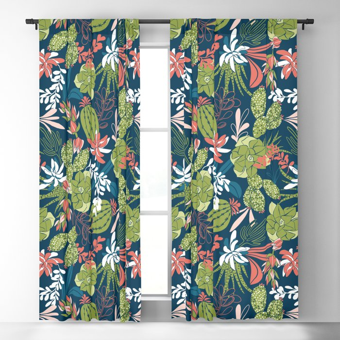 Succulent Garden Navy Blackout Curtain