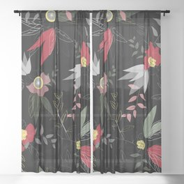 Disintegrated red and pink poppy flowers seamless vector pattern Sheer Curtain