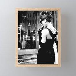 Audrey Hepburn in Black Gown, Jewelry, Vintage Black and White Art Framed Mini Art Print