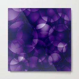Dark intersecting blueberry translucent circles in bright colors with a mauve glow. Metal Print
