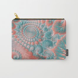 Abstract Living Coral Reef Nautilus Pastel Teal Blue Orange Spiral Swirl Pattern Fractal Fine Art Carry-All Pouch
