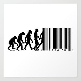 Regression of Man - March of Progress - Evolution Barcode Art Print