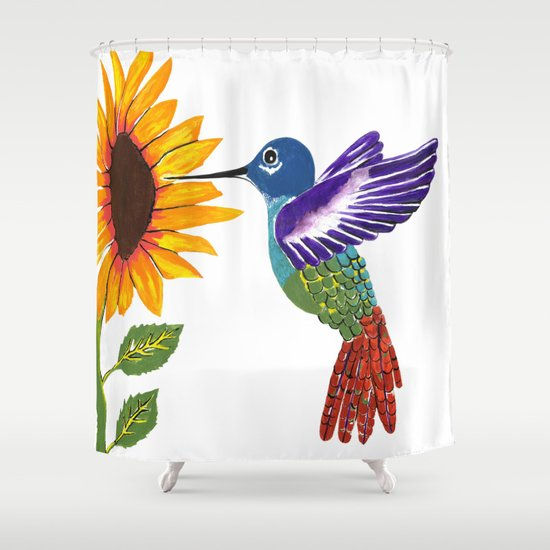 S6 home shower curtains the sunflower and the hummingbird