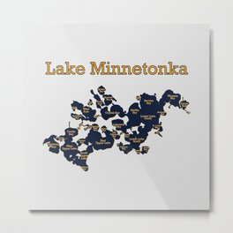 Lake Minnetonka Map with Bay Names - Navy Gold Gray - Susanne Johnson Art Metal Print