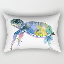 Sea Turtle Illustration Rectangular Pillow