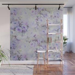 Vintage lavender gray botanical roses floral Wall Mural