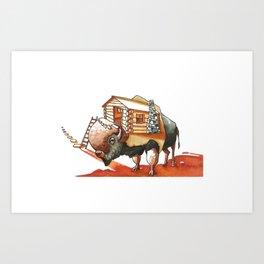 Buffalo Log Cabin Art Print