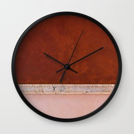 Minimal and abstract aerial view of a red and pastel Salt Lake in Italy – Landscape Photography Wall Clock