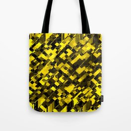 geometric square pixel pattern abstract background in yellow and black Tote Bag