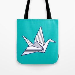 Swan, navy lines on turquoise Tote Bag