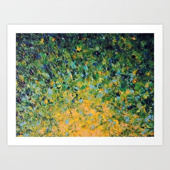 IRISH SUNRISE - Beautiful BOLD Lime Kelly Forest Green Sunrise Sunset Abstract Nature Painting Art Print