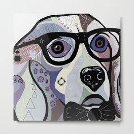 Sophisticated Beagle in Denim Colors Metal Print