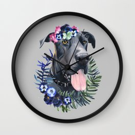 Flower power great Dane Wall Clock