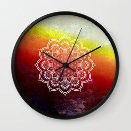 Flower of Life Mandala Orange Red Wall Clock