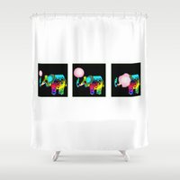 bubblegum Shower Curtains featuring bubblegum by myepicass