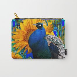 BLUE PEACOCK & GOLDEN SUNFLOWERS BLUE ART Carry-All Pouch