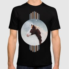 Paint Horse in the Snow MEDIUM Mens Fitted Tee Black