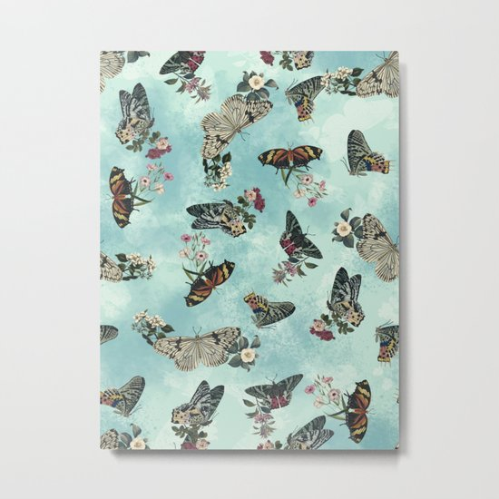 Butterfly Floral Metal Print