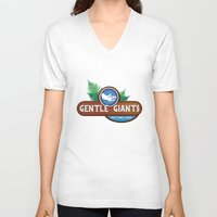giants V-neck T-shirts featuring Gentle Giants by Paul Elder