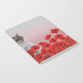 poppies Flowers with white grey cat Notebook