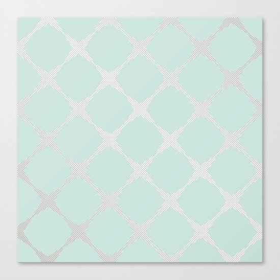 Polka Dots & Mint Tiles Canvas Print