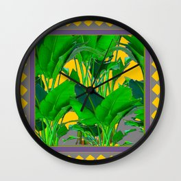 MAUVE YELLOW DIAMONDS TROPICAL GREEN & GOLD FOLIAGE Wall Clock