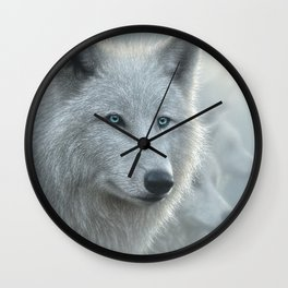 White Wolves - Whiteout Wall Clock