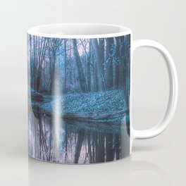 Enchanted Forest Lake Turquoise Teal Gray Coffee Mug