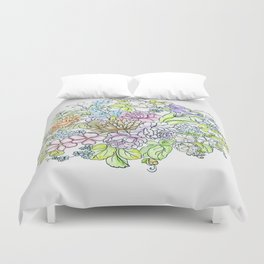 arrangement of flowers in pastel shades on a white background . illustration Duvet Cover