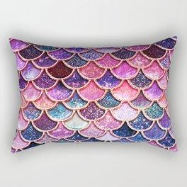 Pink & Purple Trendy Glitter Mermaid Scales Rectangular Pillow