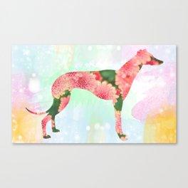 Floral Greyhound Canvas Print