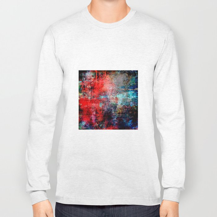 Modern Contemporary Red Abstract IntoDarkness Design Long Sleeve T-shirt