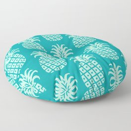 Retro Mid Century Modern Pineapple Pattern Mint Green and Teal 2 Floor Pillow