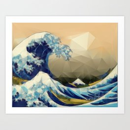 The Great Wave Off Kanagawa in Triangles Art Print