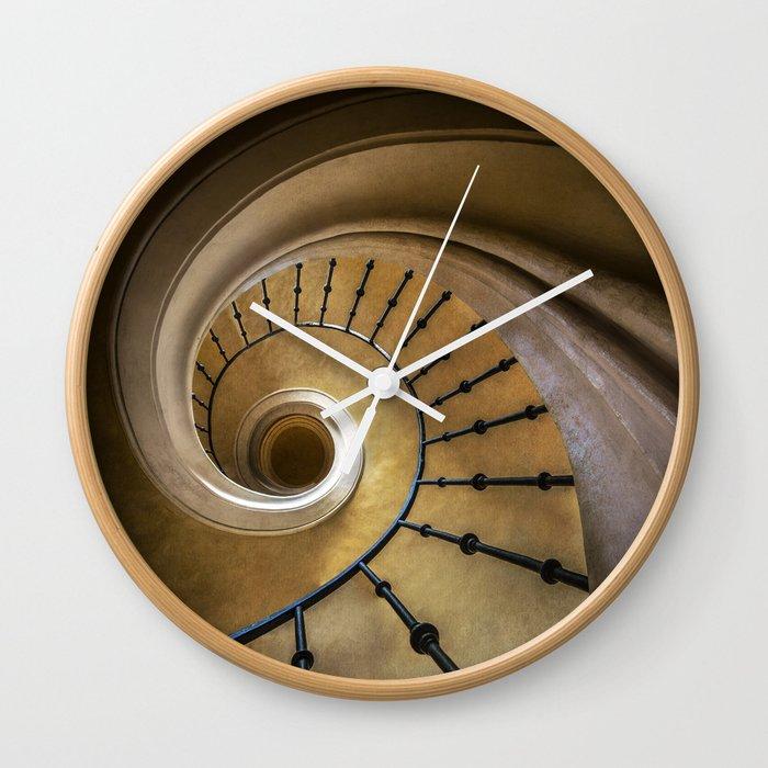 Golden spiral staircase Wall Clock by jaroslawblaminsky