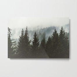 Wanderlust Forest II - Mountain Adventure in Foggy Woods Metal Print