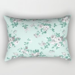 Country chic teal white gray green glitter floral Rectangular Pillow