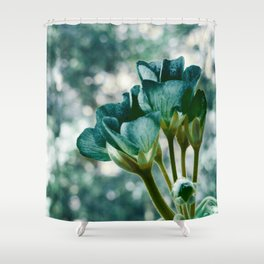 Teal Green Flowers Shower Curtain