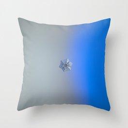 Real snowflake macro photo - Winter fortress Throw Pillow