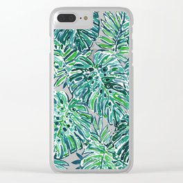 JUNGLE VIBES Green Tropical Monstera Leaves Clear iPhone Case