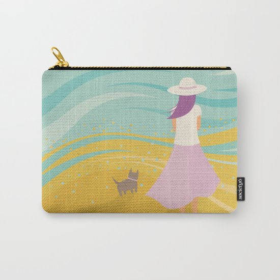 Listen to the Ocean (Girl and Cat Vector Graphic Illustration) Carry-All Pouch