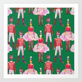 Nutcracker Ballet - Green  Art Print