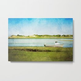 Fishing Boat with Blue Sky and Green Grass Metal Print