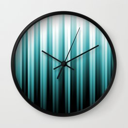 Aqua Teal Turquoise & White Abstract Soft Ombre Line Stripe Pattern on black - Aquarium SW 6767 Wall Clock