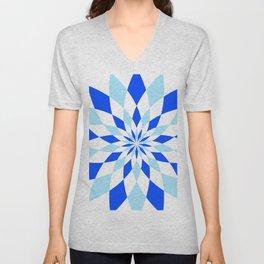 Geomatric Blue Unisex V-Neck