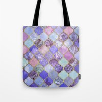 moroccan Tote Bags featuring Royal Purple, Mauve & Indigo Decorative Moroccan Tile Pattern by micklyn