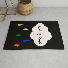 Cute cloud with colorful raindrops Rug