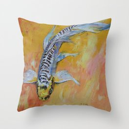 Yellow Dragon Koi Throw Pillow