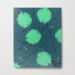 Fleurs Turquoise Simples Metal Print